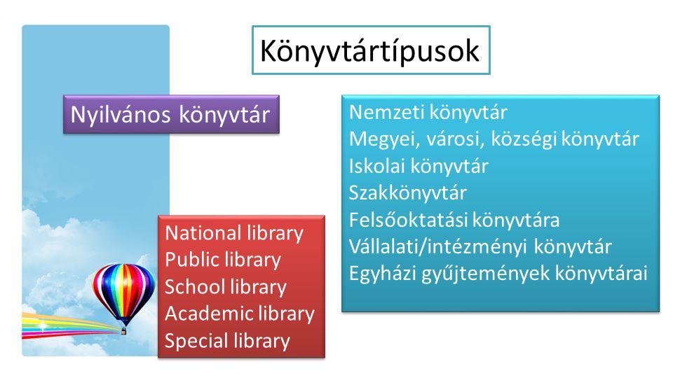 Könyvtártípusok Nemzeti könyvtár Megyei, városi, községi könyvtár Iskolai könyvtár Szakkönyvtár Felsőoktatási könyvtára Vállalati/intézményi könyvtár