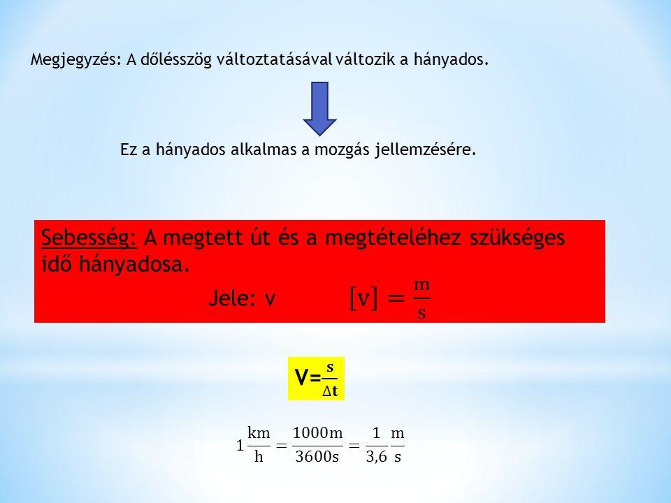 Megjegyzés: A dőlésszög változtatásával változik a hányados. Ez a hányados alkalmas a mozgás jellemzésére.