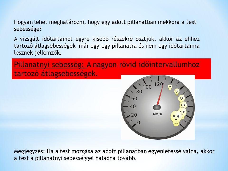 Hogyan lehet meghatározni, hogy egy adott pillanatban mekkora a test sebessége? A vizsgált időtartamot egyre kisebb részekre osztjuk, akkor az ehhez t