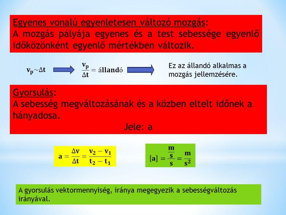 Egyenes vonalú egyenletesen változó mozgás: A mozgás pályája egyenes és a test sebessége egyenlő időközönként egyenlő mértékben változik. Ez az álland