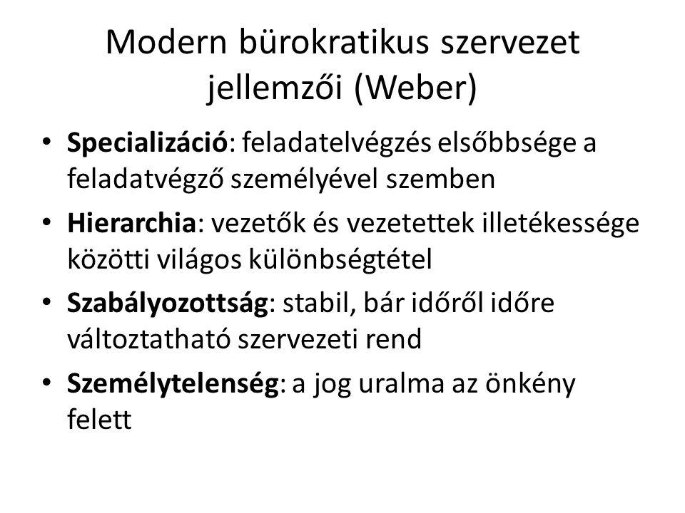 Modern bürokratikus szervezet jellemzői (Weber) Specializáció: feladatelvégzés elsőbbsége a feladatvégző személyével szemben Hierarchia: vezetők és ve