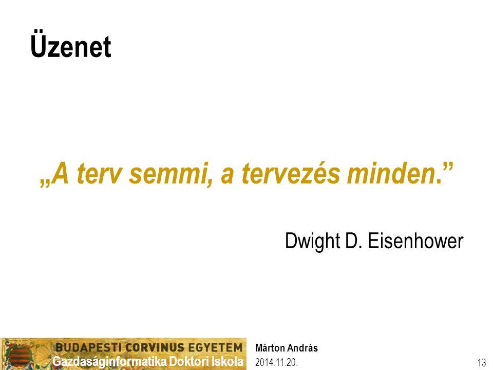 """Gazdaságinformatika Doktori Iskola Üzenet """" A terv semmi, a tervezés minden."""" Dwight D. Eisenhower 2014.11.20. Márton András 13"""