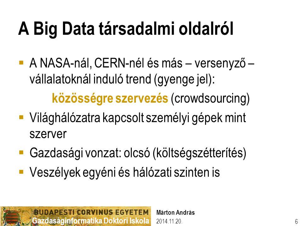 Gazdaságinformatika Doktori Iskola A Big Data társadalmi oldalról  A NASA-nál, CERN-nél és más – versenyző – vállalatoknál induló trend (gyenge jel):