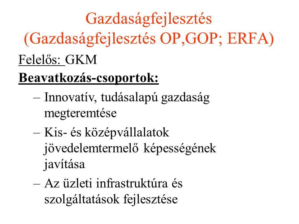 Felelős: GKM Beavatkozás-csoportok: –Innovatív, tudásalapú gazdaság megteremtése –Kis- és középvállalatok jövedelemtermelő képességének javítása –Az ü