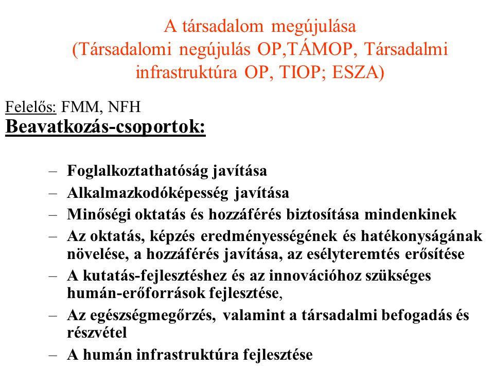 A társadalom megújulása (Társadalomi negújulás OP,TÁMOP, Társadalmi infrastruktúra OP, TIOP; ESZA) Felelős: FMM, NFH Beavatkozás-csoportok: –Foglalkoz
