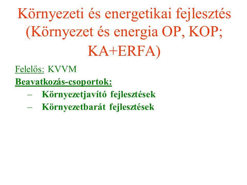Környezeti és energetikai fejlesztés (Környezet és energia OP, KOP; KA+ERFA) Felelős: KVVM Beavatkozás-csoportok: –Környezetjavító fejlesztések –Körny