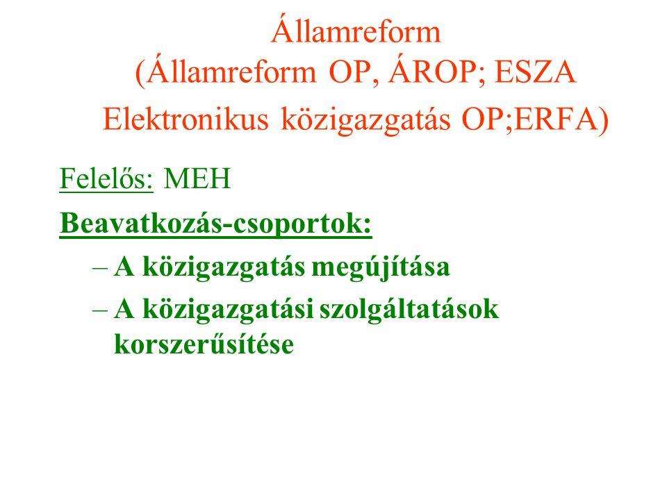 Államreform (Államreform OP, ÁROP; ESZA Elektronikus közigazgatás OP;ERFA) Felelős: MEH Beavatkozás-csoportok: –A közigazgatás megújítása –A közigazga