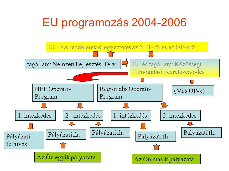 EU programozás 2004-2006 EU: SA rendeletek & egyeztetés az NFT-ről és az OP-kről tagállam: Nemzeti Fejlesztési TervEU és tagállam: Közösségi Támogatás