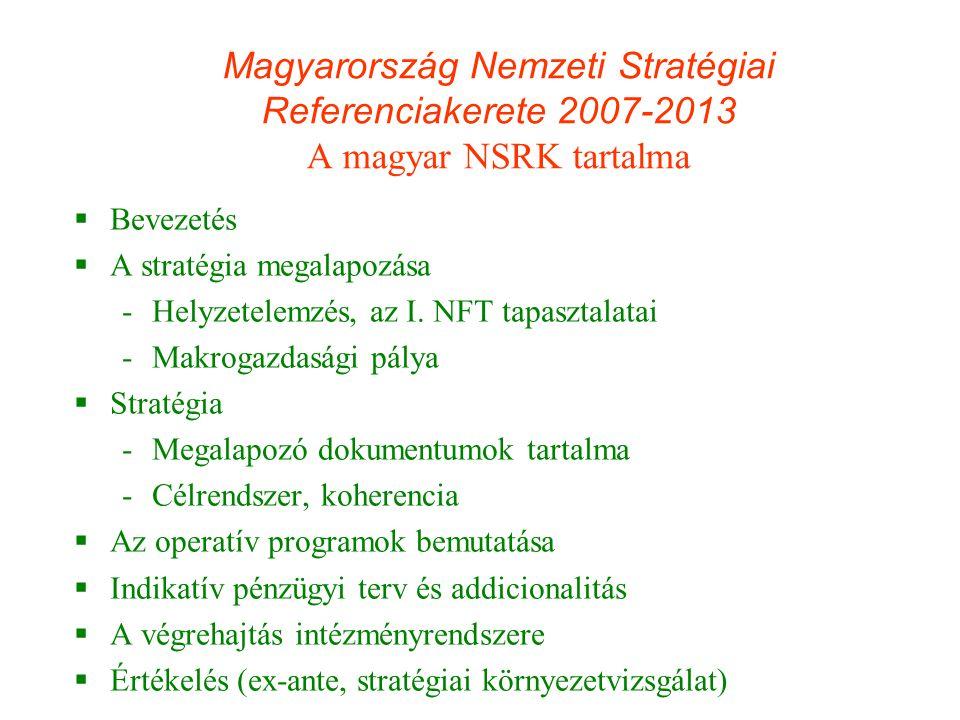 Magyarország Nemzeti Stratégiai Referenciakerete 2007-2013 A magyar NSRK tartalma  Bevezetés  A stratégia megalapozása -Helyzetelemzés, az I. NFT ta