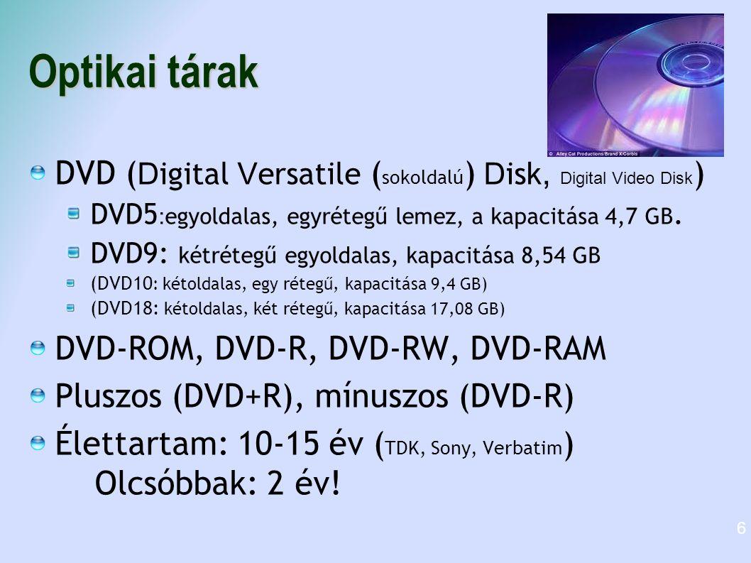 Optikai tárak DVD ( D igital V ersatile ( sokoldalú ) D isk, Digital Video Disk ) DVD5 : egyoldalas, egyrétegű lemez, a kapacitása 4,7 GB. DVD9: kétré