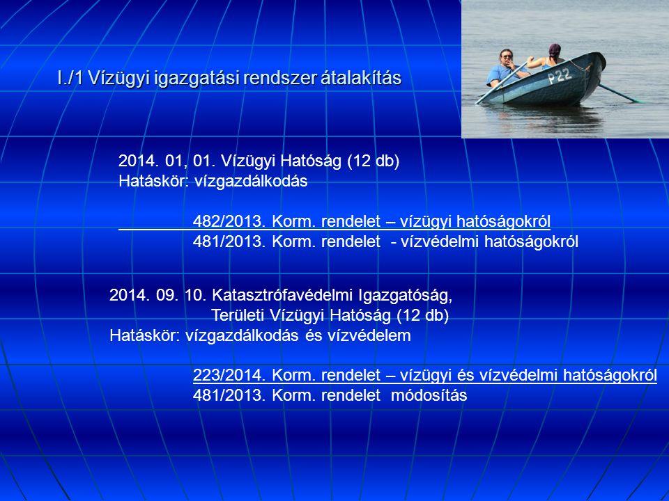 I./1 Vízügyi igazgatási rendszer átalakítás 2014.01, 01.