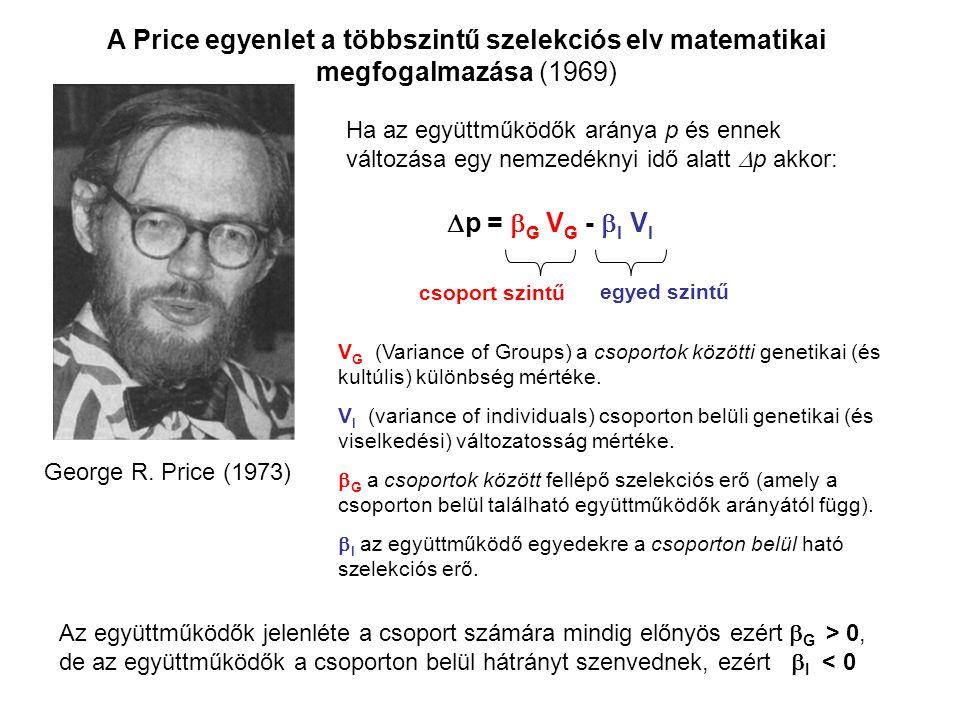A Price egyenlet a többszintű szelekciós elv matematikai megfogalmazása (1969)  p =  G V G -  I V I Ha az együttműködők aránya p és ennek változása