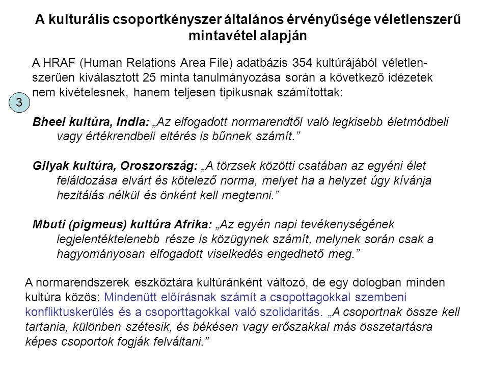 A HRAF (Human Relations Area File) adatbázis 354 kultúrájából véletlen- szerűen kiválasztott 25 minta tanulmányozása során a következő idézetek nem ki