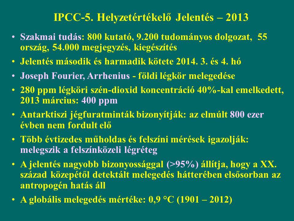IPCC-5. Helyzetértékelő Jelentés – 2013 Szakmai tudás: 800 kutató, 9.200 tudományos dolgozat, 55 ország, 54.000 megjegyzés, kiegészítés Jelentés másod