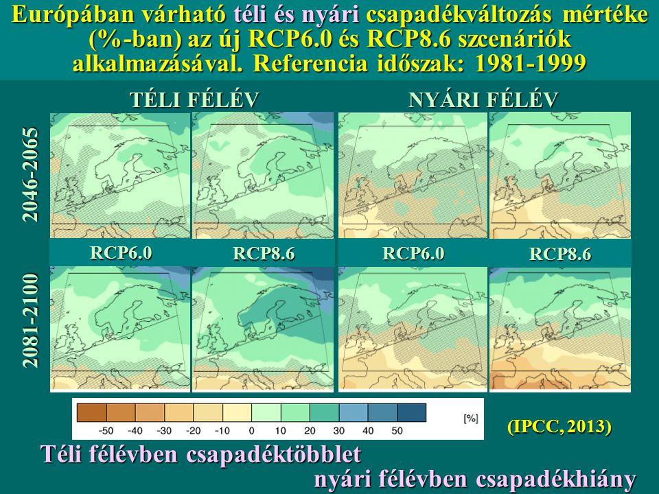 TÉLI FÉLÉV NYÁRI FÉLÉV 2046-2065 2081-2100 RCP6.0 RCP6.0 RCP8.6 RCP8.6 Európában várható téli és nyári csapadékváltozás mértéke (%-ban) az új RCP6.0 é