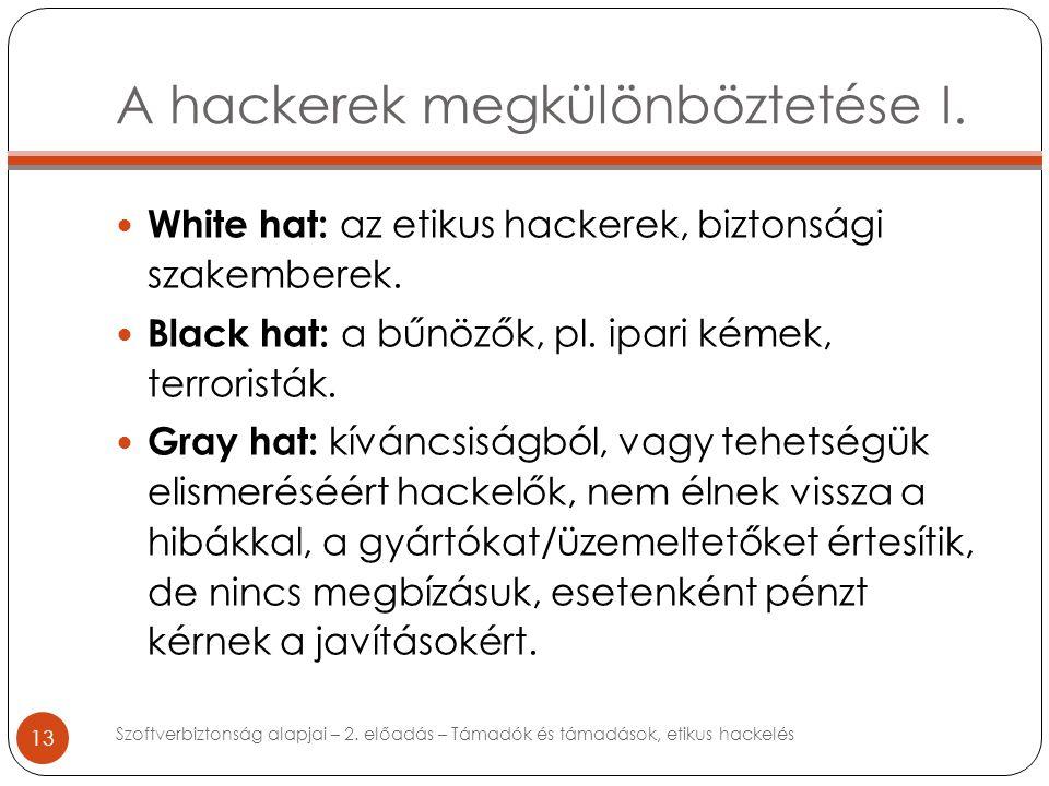 A hackerek megkülönböztetése I. 13 White hat: az etikus hackerek, biztonsági szakemberek.