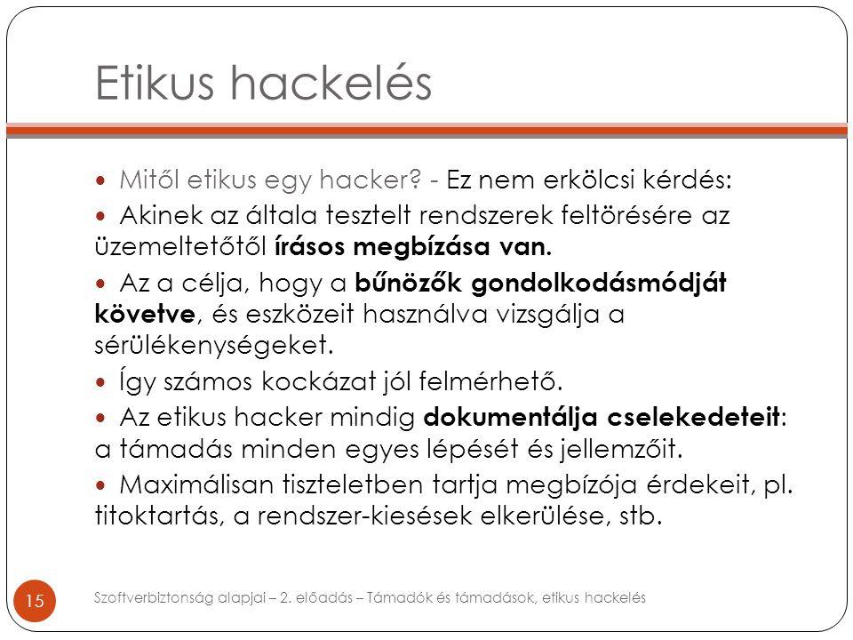 Etikus hackelés 15 Mitől etikus egy hacker.