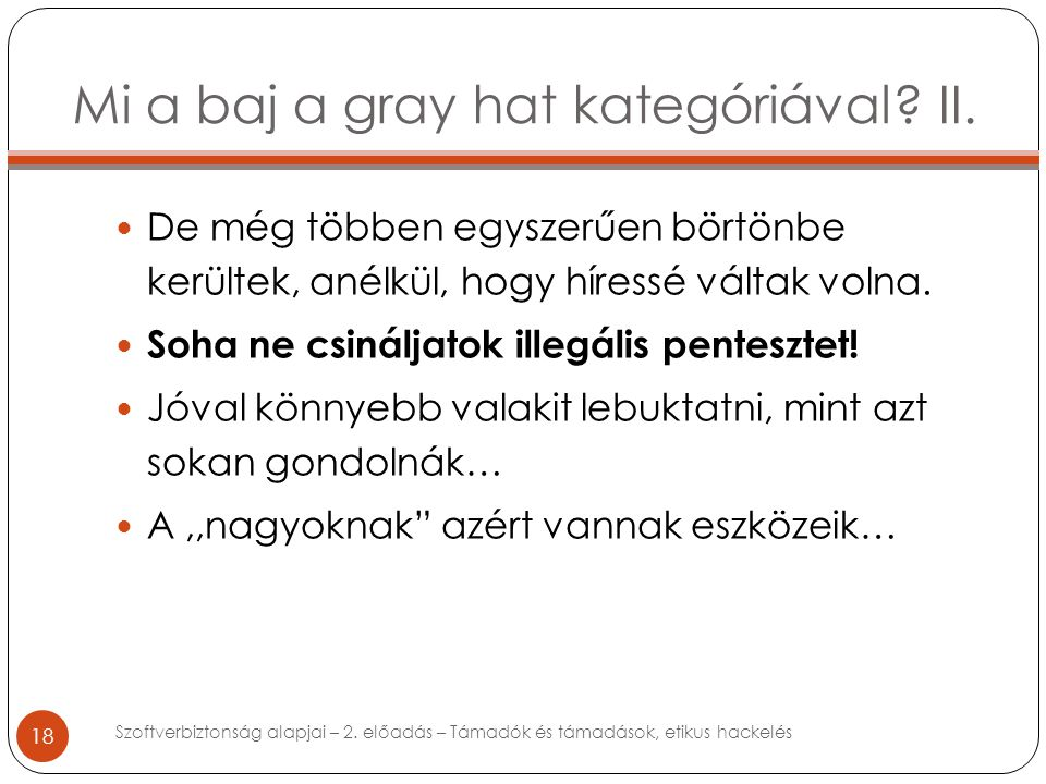 Mi a baj a gray hat kategóriával. II.
