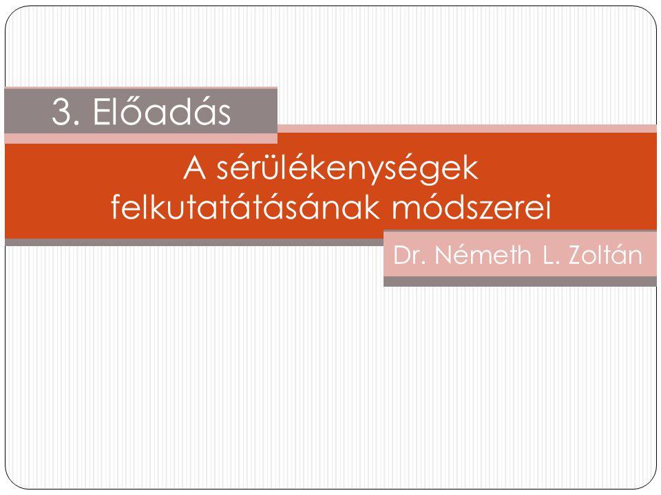 1. Előadás Dr. Németh L. Zoltán 3. Előadás A sérülékenységek felkutatátásának módszerei