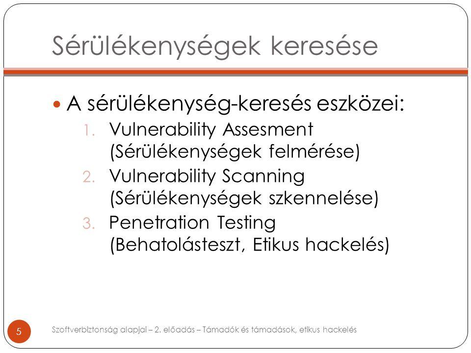 Sérülékenységek keresése 5 A sérülékenység-keresés eszközei: 1.