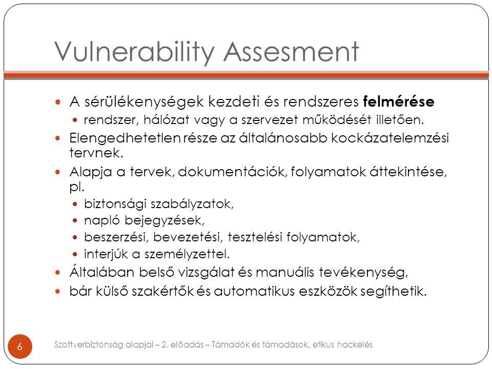 6 A sérülékenységek kezdeti és rendszeres felmérése rendszer, hálózat vagy a szervezet működését illetően.
