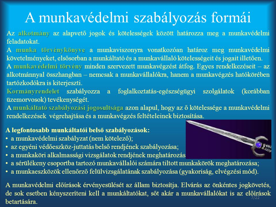 A munkavédelmi törvény (az 1993.évi XCIII.
