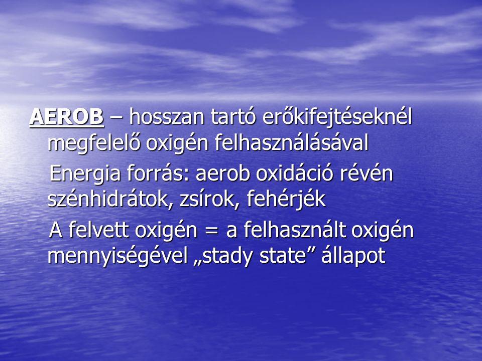 AEROB – hosszan tartó erőkifejtéseknél megfelelő oxigén felhasználásával Energia forrás: aerob oxidáció révén szénhidrátok, zsírok, fehérjék Energia f