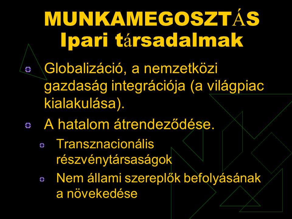 MUNKAMEGOSZT Á S Ipari t á rsadalmak Globalizáció, a nemzetközi gazdaság integrációja (a világpiac kialakulása). A hatalom átrendeződése. Transznacion