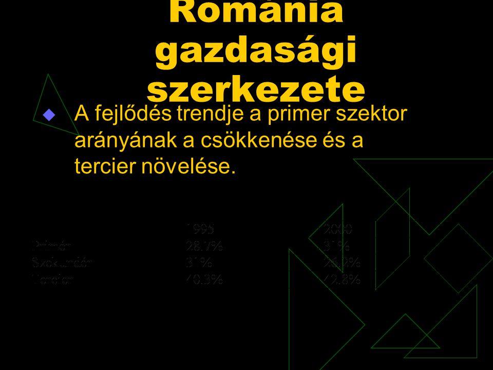 Románia gazdasági szerkezete  A fejlődés trendje a primer szektor arányának a csökkenése és a tercier növelése.