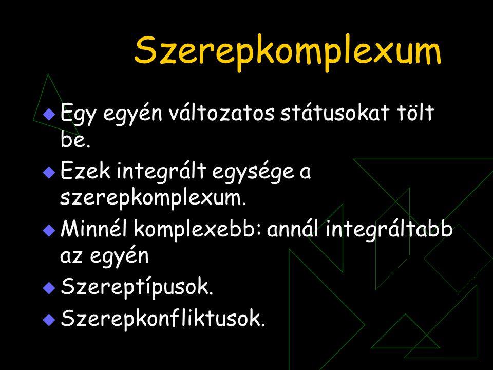 Szerepkomplexum  Egy egyén változatos státusokat tölt be.  Ezek integrált egysége a szerepkomplexum.  Minnél komplexebb: annál integráltabb az egyé