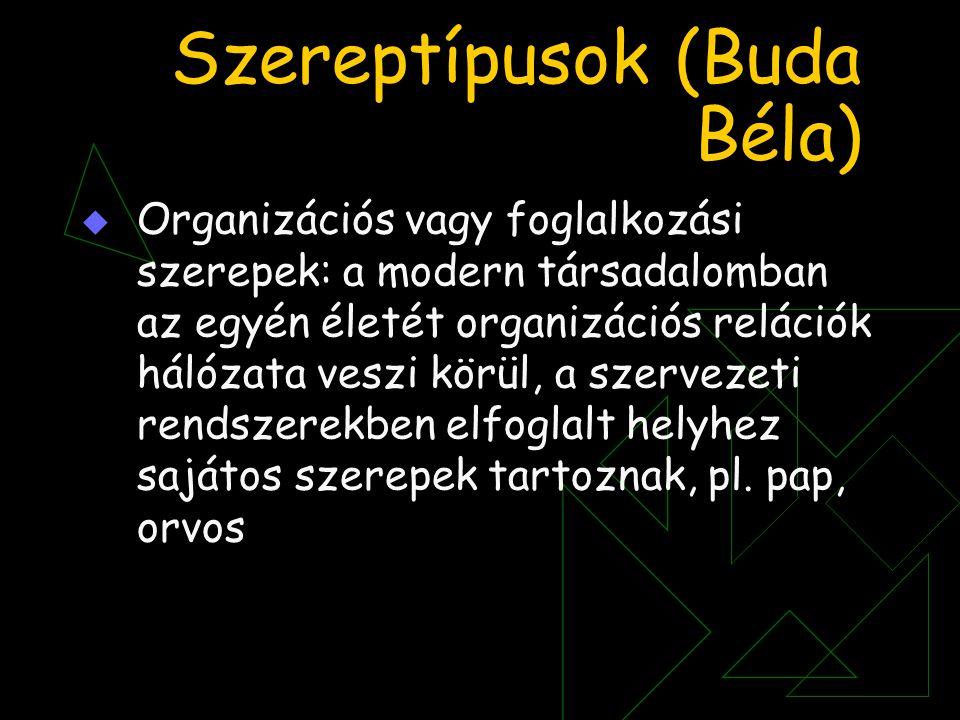 Szereptípusok (Buda Béla)  Organizációs vagy foglalkozási szerepek: a modern társadalomban az egyén életét organizációs relációk hálózata veszi körül