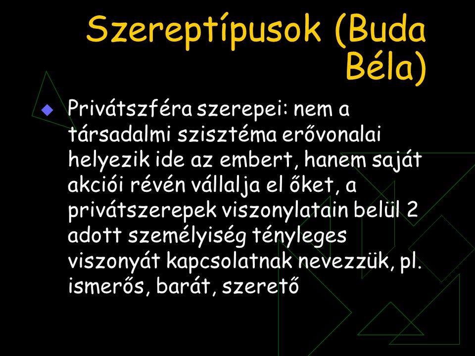 Szereptípusok (Buda Béla)  Privátszféra szerepei: nem a társadalmi szisztéma erővonalai helyezik ide az embert, hanem saját akciói révén vállalja el