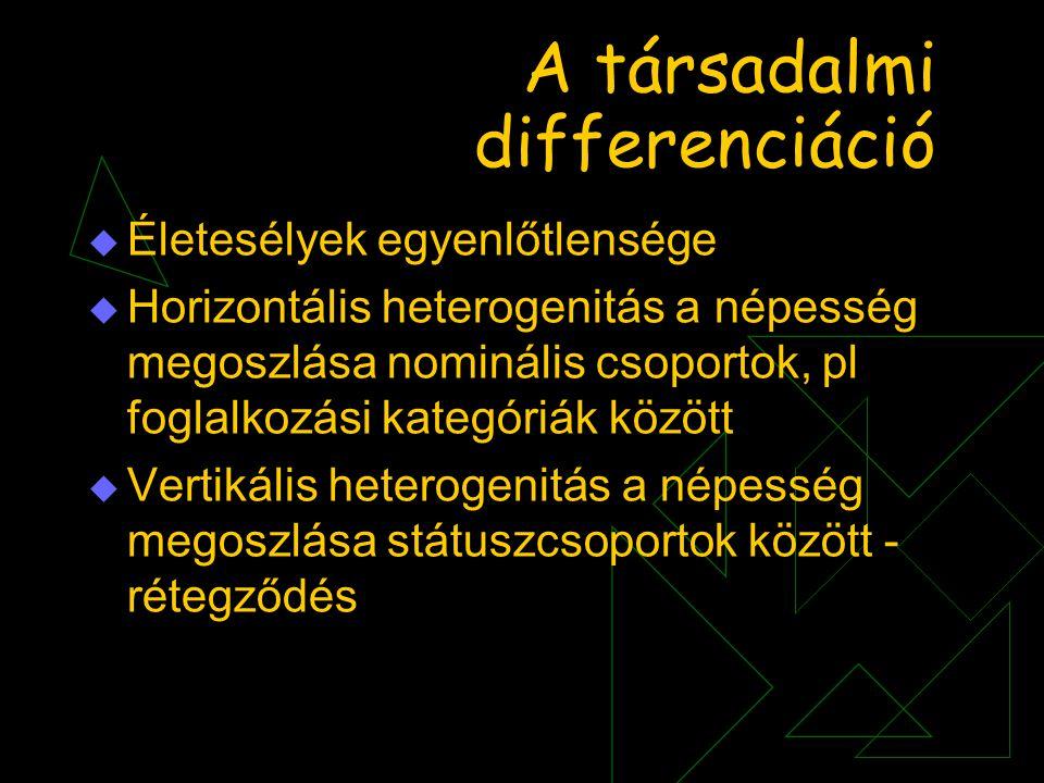 A társadalmi differenciáció  Életesélyek egyenlőtlensége  Horizontális heterogenitás a népesség megoszlása nominális csoportok, pl foglalkozási kate