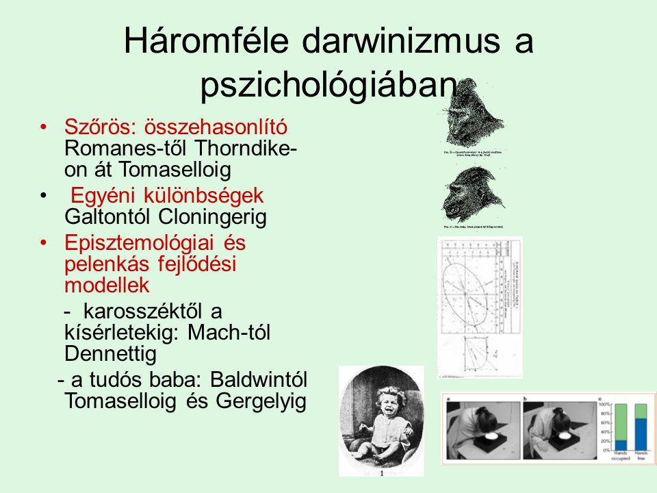 Háromféle darwinizmus a pszichológiában Szőrös: összehasonlító Romanes-től Thorndike- on át Tomaselloig Egyéni különbségek Galtontól Cloningerig Episztemológiai és pelenkás fejlődési modellek - karosszéktől a kísérletekig: Mach-tól Dennettig - a tudós baba: Baldwintól Tomaselloig és Gergelyig