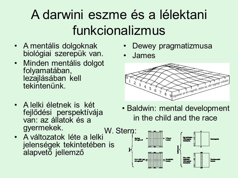 A darwini eszme és a lélektani funkcionalizmus A mentális dolgoknak biológiai szerepük van.