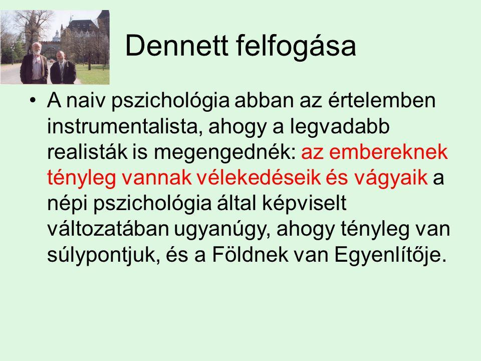 Dennett felfogása A naiv pszichológia abban az értelemben instrumentalista, ahogy a legvadabb realisták is megengednék: az embereknek tényleg vannak vélekedéseik és vágyaik a népi pszichológia által képviselt változatában ugyanúgy, ahogy tényleg van súlypontjuk, és a Földnek van Egyenlítője.