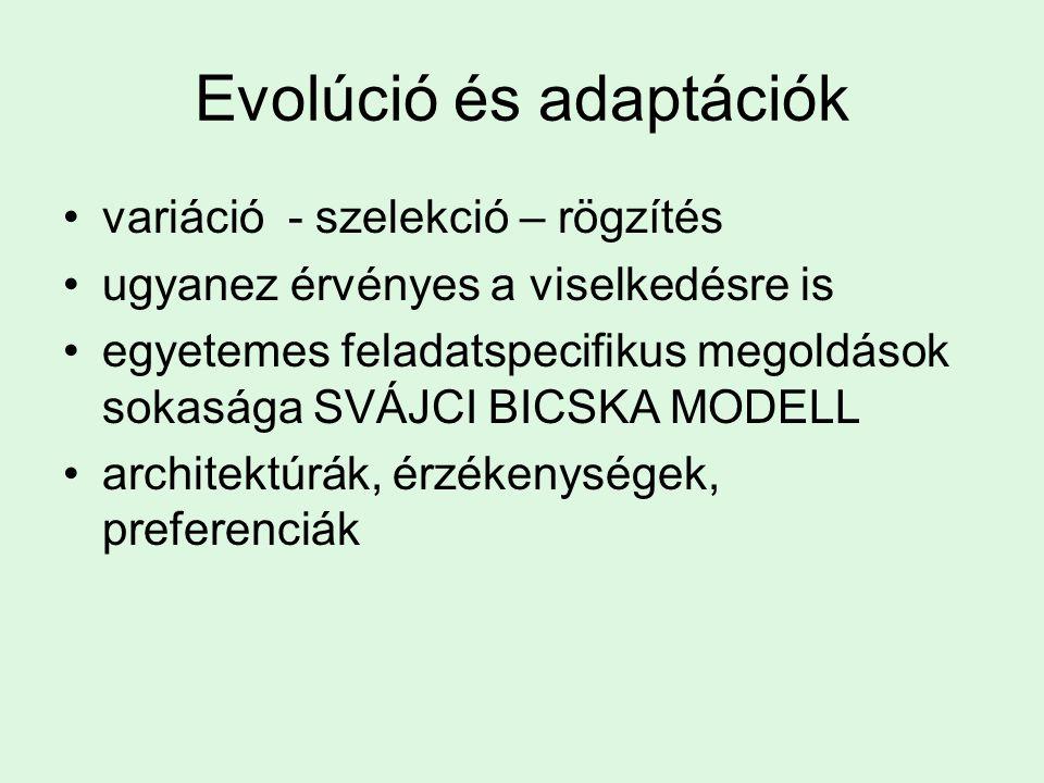 Evolúció és adaptációk variáció - szelekció – rögzítés ugyanez érvényes a viselkedésre is egyetemes feladatspecifikus megoldások sokasága SVÁJCI BICSKA MODELL architektúrák, érzékenységek, preferenciák