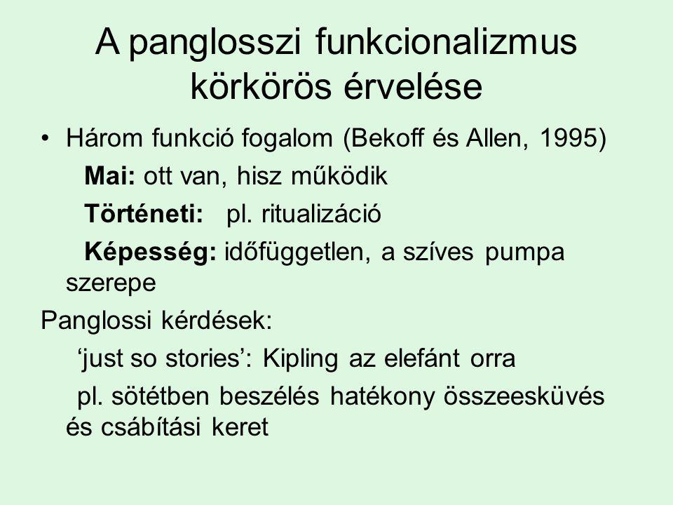 A panglosszi funkcionalizmus körkörös érvelése Három funkció fogalom (Bekoff és Allen, 1995) Mai: ott van, hisz működik Történeti: pl. ritualizáció Ké