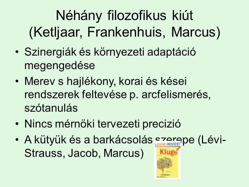 Néhány filozofikus kiút (Ketljaar, Frankenhuis, Marcus) Szinergiák és környezeti adaptáció megengedése Merev s hajlékony, korai és kései rendszerek fe