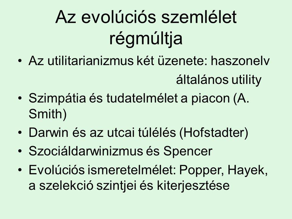 Az evolúciós szemlélet régmúltja Az utilitarianizmus két üzenete: haszonelv általános utility Szimpátia és tudatelmélet a piacon (A. Smith) Darwin és