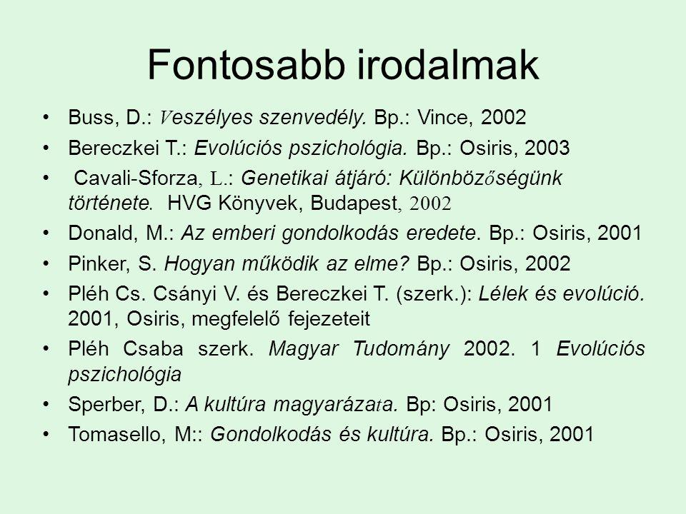 Fontosabb irodalmak Buss, D.: V eszélyes szenvedély. Bp.: Vince, 2002 Bereczkei T.: Evolúciós pszichológia. Bp.: Osiris, 2003 Cavali-Sforza, L. : Gene