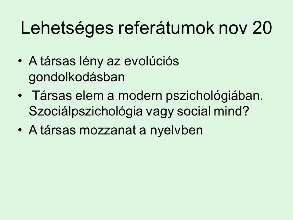 Lehetséges referátumok nov 20 A társas lény az evolúciós gondolkodásban Társas elem a modern pszichológiában. Szociálpszichológia vagy social mind? A