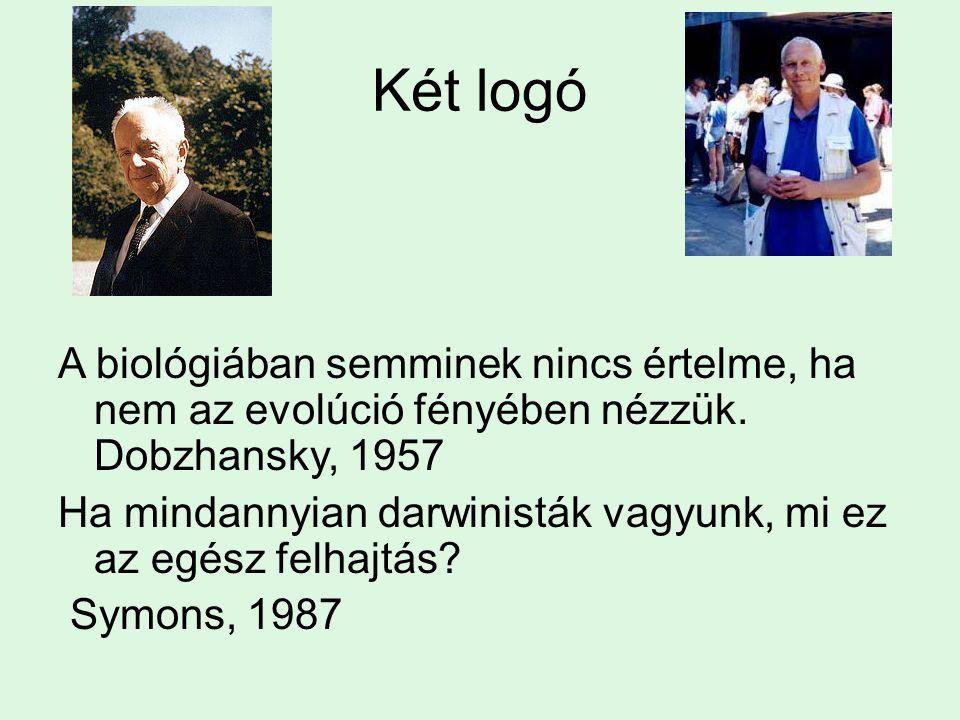 Két logó A biológiában semminek nincs értelme, ha nem az evolúció fényében nézzük. Dobzhansky, 1957 Ha mindannyian darwinisták vagyunk, mi ez az egész