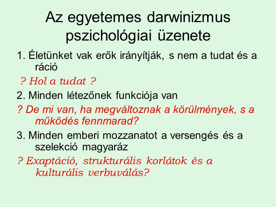 Az egyetemes darwinizmus pszichológiai üzenete 1. Életünket vak erők irányítják, s nem a tudat és a ráció ? Hol a tudat ? 2. Minden létezőnek funkciój