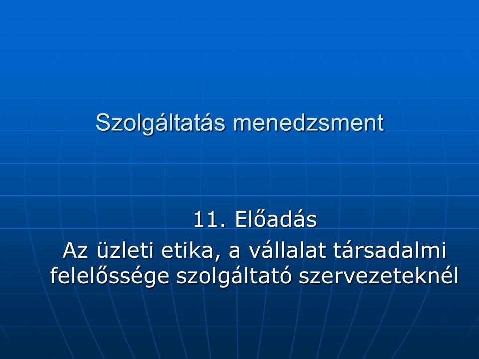 Szolgáltatás menedzsment 11. Előadás Az üzleti etika, a vállalat társadalmi felelőssége szolgáltató szervezeteknél