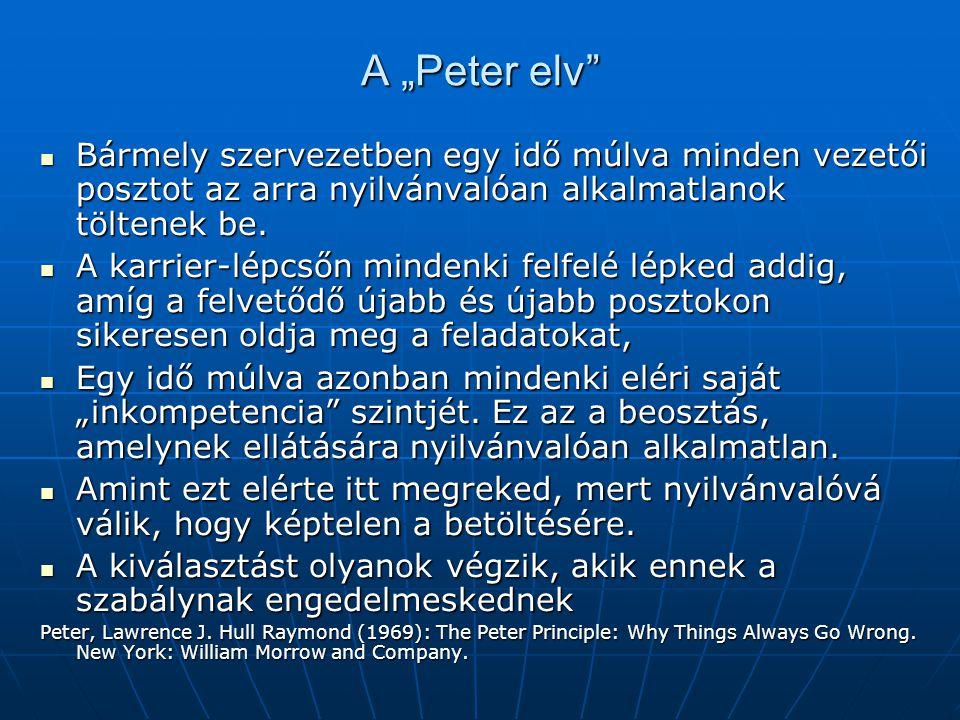 """A """"Peter elv"""" Bármely szervezetben egy idő múlva minden vezetői posztot az arra nyilvánvalóan alkalmatlanok töltenek be. Bármely szervezetben egy idő"""