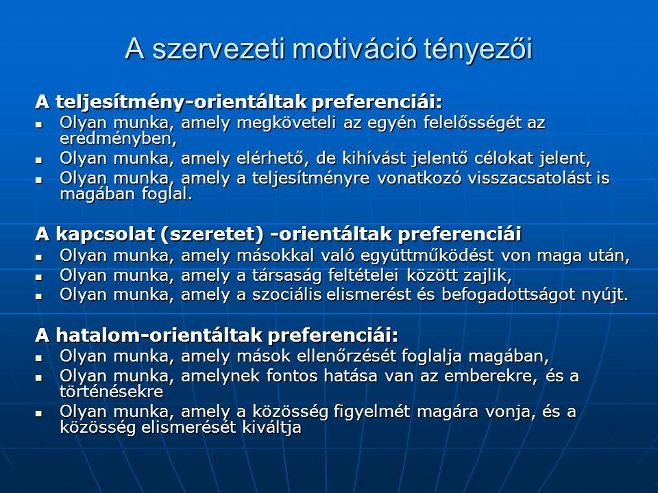 A szervezeti motiváció tényezői A teljesítmény-orientáltak preferenciái: Olyan munka, amely megköveteli az egyén felelősségét az eredményben, Olyan mu