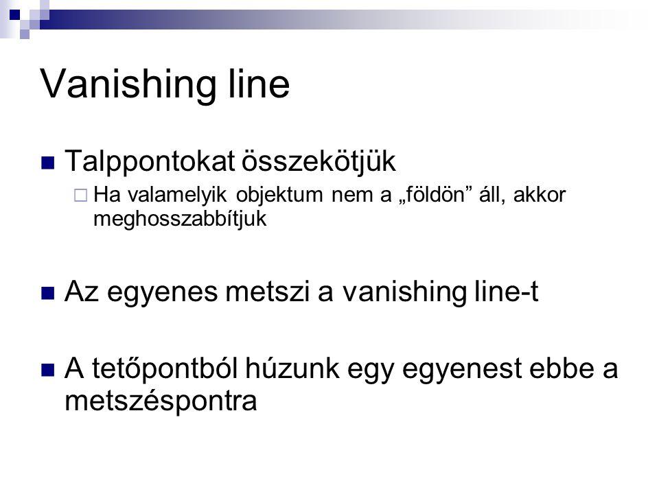 """Vanishing line Talppontokat összekötjük  Ha valamelyik objektum nem a """"földön áll, akkor meghosszabbítjuk Az egyenes metszi a vanishing line-t A tetőpontból húzunk egy egyenest ebbe a metszéspontra"""
