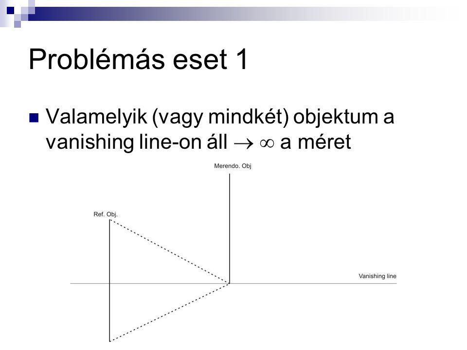 Problémás eset 1 Valamelyik (vagy mindkét) objektum a vanishing line-on áll   a méret