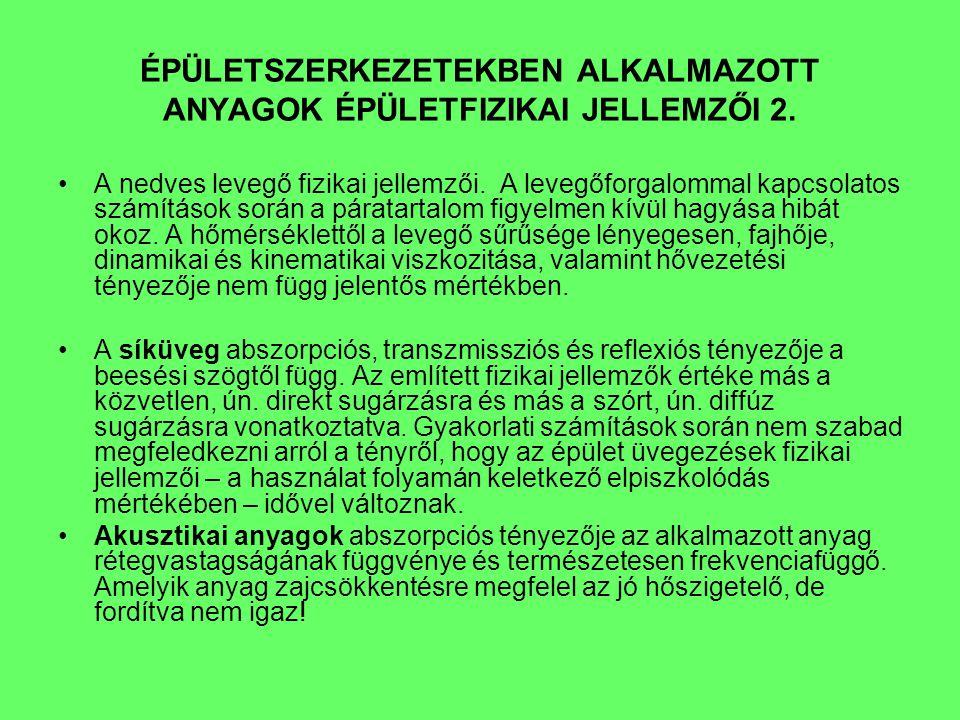 ÉPÜLETSZERKEZETEK ÉPÜLETFIZIKAI JELLEMZŐI 1.